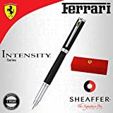Sheaffer Ferrari Intensity Chrome Trim/Stainless Steel Fountain Pen Medium Nib Branded Gift Box - Satin Black