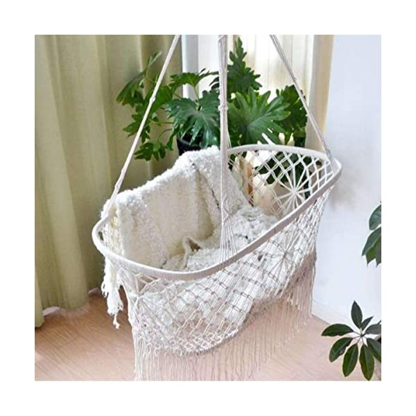 """OLDFAI Baby Crib Cradle Bassinet, Hanging Hammoc Swing Mobile Breathable for Boys Girls Infant, Washable Weaved Crib, 35"""" L X 23.25"""" W X 14"""" H Beige OLDFAI [BABY CRADLE BASSINET]Adorable hanging cradle soothes infants with a safe and comfortable place to sleep - Perfect addition to baby nursery or bedroom [SOOTHING & COMFORTABLE]Lulls baby to sleep with gentle rocking movement like a hanging baby hammock - Parents can rock cradle or let baby's movements gently move the baby swing crib - Gives new parents relaxation and peace of mind [INDOOR/OUTDOOR]Place the baby hammock bed cradle anywhere with sturdy suspension - Baby Nursery, living room, bedroom, basement, spare room, sunroom, patio, backyard, and more - Suspend beside your bed indoors or place the baby portable swing outdoors for a relaxing scenery - Practical alternative for those seeking more options than traditional crib 1"""