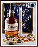 Geschenk The Irishman Single Malt Whiskey Irland mit DreiMeister Edel Schokoladen + Flaschenportionierer + Whisky Fudge, verpackt im edlen Geschenk Karton, kostenloser Versand