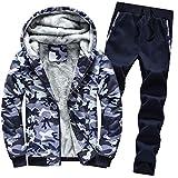 Luckycat Herren Hoodie Winter Camouflag Warm Fleece Zipper Outwear Mantel Top Hosen Sets Winterjacke Steppjacke Daunenjacke Parka Mäntel Jacken