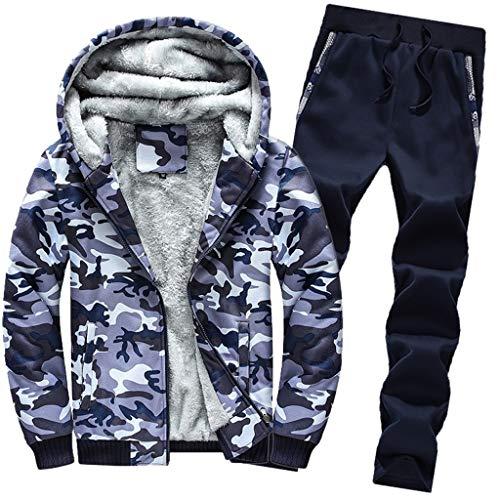 Amphia - Herrenanzug - Herren Hoodie Winter Camouflag Warm Fleece Zipper Outwear Mantel Top...