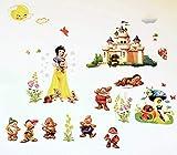 Kibi Disney Prinzessinnen Wandtattoos/Sticker Wandtattoo Prinzessin Kinderzimmer Mädchen Wandsticker Wandaufkleber Entfernbarer Wanddekoration für Babyzimmer Wohnzimmer Schlafzimmer (mehrfarbig)