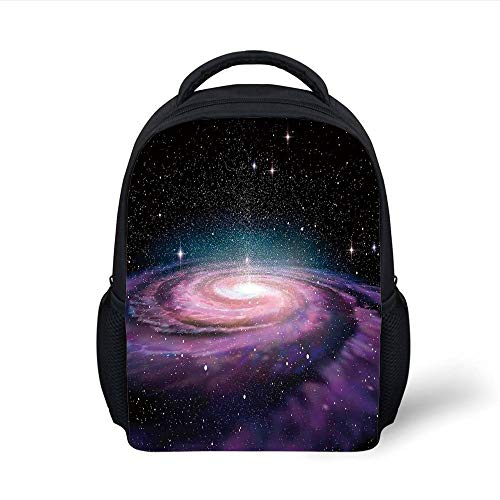 074ced119cf4 Kids School Backpack Galaxy,Spiral Galaxy in Outer Space Andromeda Nebula  Star Dust Universe Astronomy Print,Mauve Black Plain Bookbag Travel Daypack