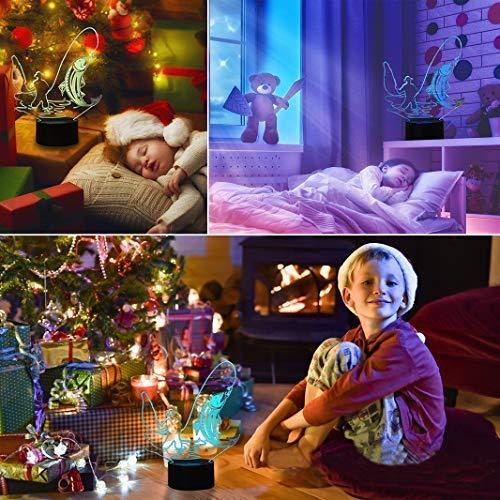 HeXie LED Nacht Lichter 3D Illusion Nachttisch Lampe 7 Farben ändern Schlafen Beleuchtung Smart Touch Button Nette Geschenk Warming präsentieren kreative Dekoration ideale Kunst Handwerk (Angeln) - 2