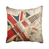 Emvency Housse de Coussin en Polyester 45,7 x 45,7 cm Motif Guitare Pop Britannique Rock London Jack Union Brit Drapeau Britannique