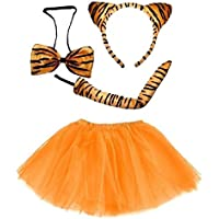 cf86c02b9a Lizzy Kids Tiger Tutu Costume Fancy Dress Halloween Tutu Ears Animal  Accessory Set