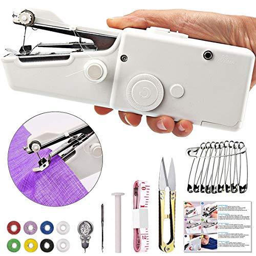 TTMOW Mini Machine à Coudre Portable, Main Couture Portative, Outil de Point Rapide Manuelle, Alimenté par AA Batterie, pour Vêtement, Rideau, DIY