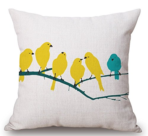 Scott Mathieson Home Decor Home Sofa Auto dekorativer Kissenbezug Kissen gelb und blau Vögel 45,7x 45,7cm