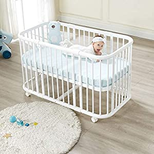 DUWEN-Cot bed Solid Wood Multifunction European Baby Cot Toddler Bed Children's Bed Sofa Bed Game Bed   10