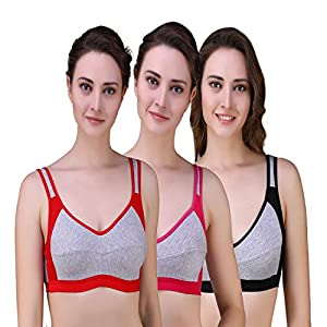 fb4699f942 Sale! Alzy Women s Full Coverage High Impact Support Wirefree Workout  Sports Bra Pack of 3 11-P3 Multicolor