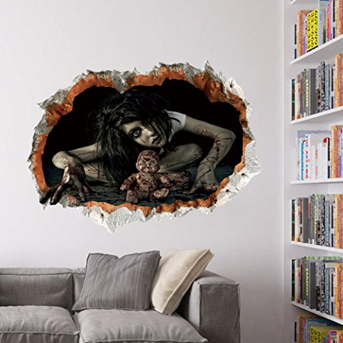 Augen Make Up Kits Halloween (Halloween Aufkleber, HARRYSTORE 3D Effekte Happy Halloween Room Wandaufkleber Horror Ghost Pattern Abnehmbare Abziehbild Mural Decor 60cm*45cm (Mehrfarbig)