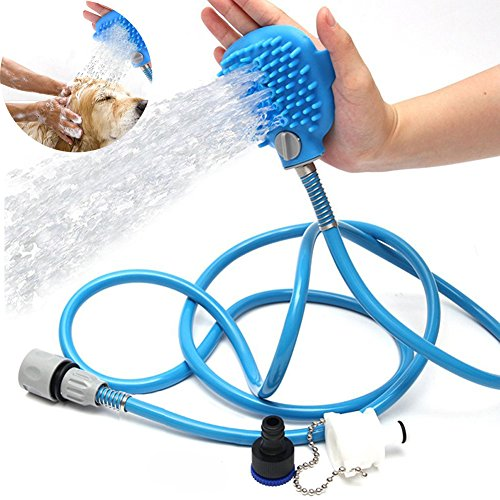 owikar Pet Baden Werkzeug Multifunktions-Haustier Hund Dusche Spritze und Schrubber mit Massage Handschuh Hunde Baden Pflege Waschbürste für Innen-& Außeneinsatz