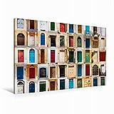 Premium Textil-Leinwand 120 cm x 80 cm quer Bunte vorderen Türen zu den Häusern von Malta | Wandbild, Bild auf Keilrahmen, Fertigbild auf echter Leinwand, Leinwanddruck (CALVENDO Orte)