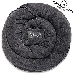 Écharpe de portage 100% coton - gris foncé - porte-bébé de haute qualité pour nouveau-nés et bébés jusqu'à 15 kg - incl. sac de rangement et bavoir bébé OFFERTS - design adorable de Makimaja®