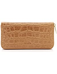 BOVARI XL Portefeuille et porte-monnaie en cuir femme (20x10x3 cm) - couleur: whiskey - imprimé crocodile
