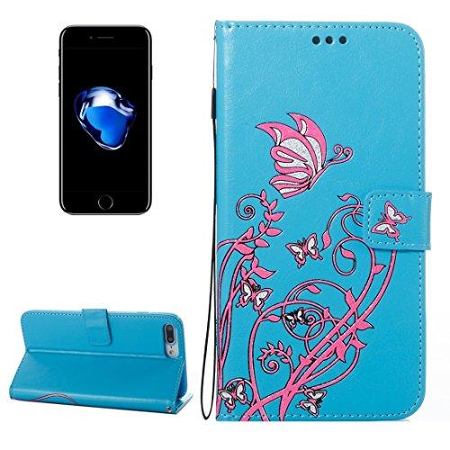 Hülle für iPhone 7 plus , Schutzhülle Für iPhone 7 Plus Spannung verrückte Pferd Textur Horizontale Flip Leder Tasche mit Halter & Card Slots & Wallet & Lanyard ,hülle für iPhone 7 plus , case for iph Blue