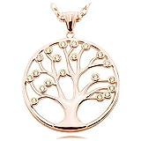 Damen Kette Baum des Lebens Silber 925 Kettenanhänger Lebensbaum - groß - Rosegold - Lange Halskette 80 cm