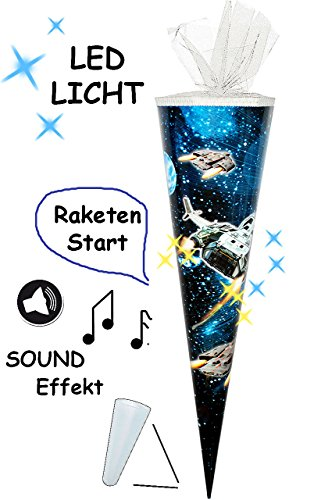 alles-meine.de GmbH Sound Modul & LED Licht Effekt ! - Schultüte -  Weltraum - Space  - 85 cm / 6 eckig - Tüllabschluß - Zuckertüte - mit / ohne Kunststoff Spitze - für Jungen ..