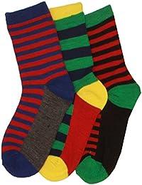 3 x Boys Cotton Rich Computer Stripey Design Pattern Socks