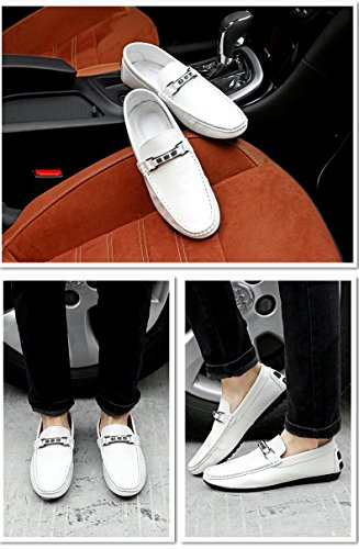 Herren Mokassin Bootsschuhe Loafers Schuhe Freizeit Low-Top Flache Fahren Halbschuhe Weiß
