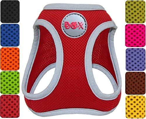 DDOXX Hundegeschirr reflektierend Air Mesh | Step-In | für große, mittelgroße, mittlere & Kleine Hunde | Geschirr Hund | Katze | Brustgeschirr | Softgeschirr | Zubehör | Rot, Größe A (XS)