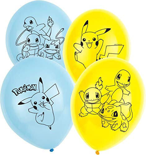 Amscan 9904826 6 Latexballons Pokémon, Blau & Gelb (Offizielle Pikachu Kostüm)