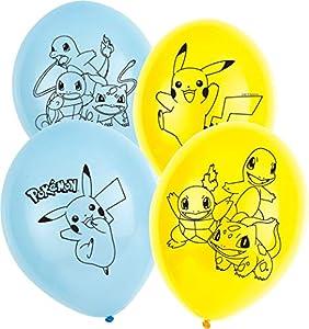 Amscan International Amscan 9904826 - Globo de látex (27,9 cm, 4 caras, 6 unidades), diseño de Pokemon