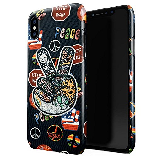 iPhone X Hülle Glitbit Peace Sign Hippie Embroidered 70s 80s 90s Hipster Pride Tie Dye Stop War Frieden Dünn Robuste Rückschale aus Kunststoff Für iPhone X Schutzhülle Schutz Case Cover (Denim Frieden)