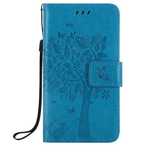 7d1e9e474a0 ISAKEN Compatibile con Microsoft Nokia Lumia 550 Custodia, Libro Flip Cover  Portafoglio Wallet Case Albero