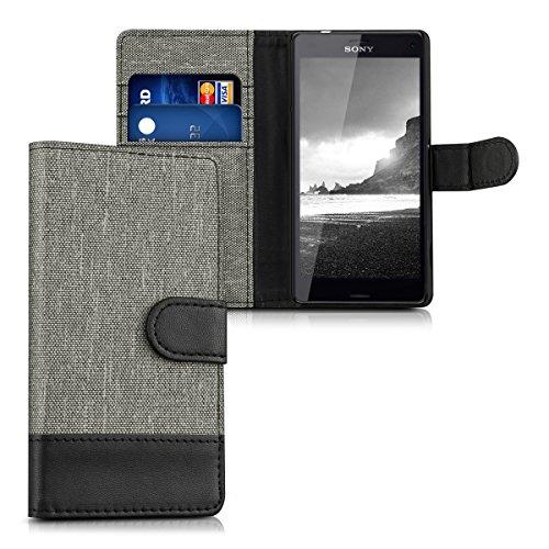 kwmobile Hülle für Sony Xperia Z3 Compact - Wallet Case Handy Schutzhülle Kunstleder - Handycover Klapphülle mit Kartenfach und Ständer Grau Schwarz Xperia Z3 Case Ständer