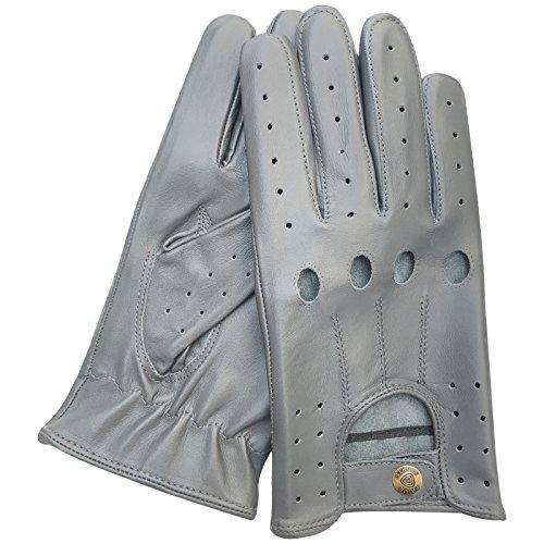Prime de qualité supérieure Vache en cuir nappa Conduite Moto robe fashion 507Paire de gants gris clair gris Gris clair grand