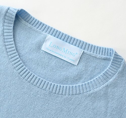 LongMing Damen 100% Kaschmir Pullover for Winter Warm Lange Ärmel Slim Swaeter Himmel Blau