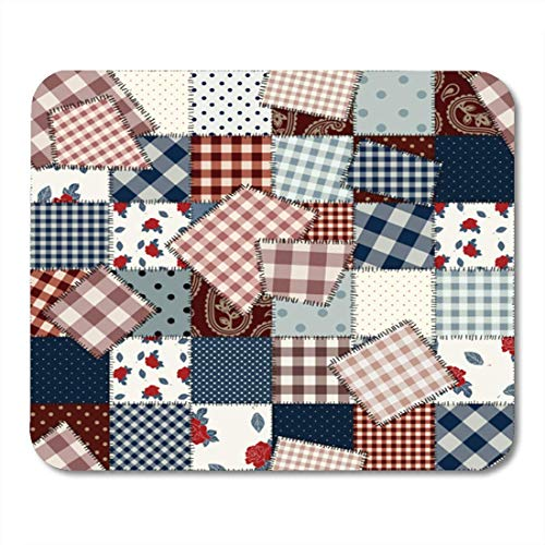 Deglogse Gaming-Mauspad-Matte, Stitch Quilt Pattern Will Endlessly Patchwork with Patches in Country Style Western Retro Mouse Pad Western Quilt