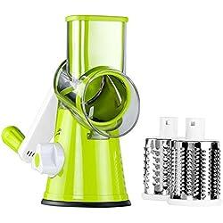 LEKOCH Mandolines Multifonctions à légumes Coupe-Légumes Manuel avec 3 Lames Cylindriques en Acier Ioxydable Râpe à Fromage Carotte (Vert)
