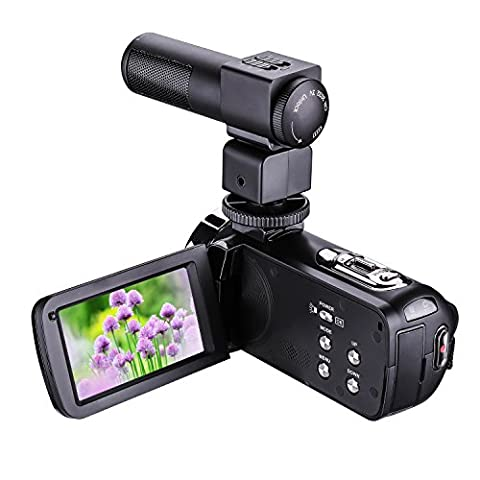 LWD Night Vision Video Camera 1080P 16X Zoom Digital Video Camera with External MIC- Digital Camcorder with Professional Camera Mounted Shotgun Boom Microphone 3 Inch Touch Screen Portable LCD