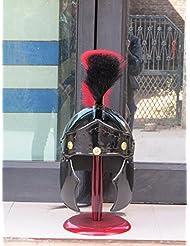 Negro Greco Roman casco con negro o rojo escudo o soporte de madera