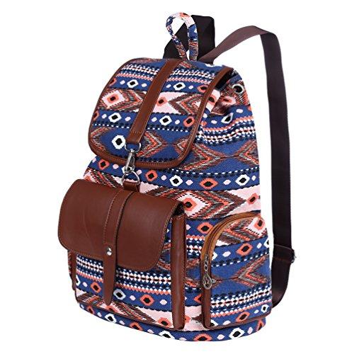 Vbiger Frauen Kordelzug Rucksack Leinwand Schule Rucksäcke Lässiger Outdoor-Tagesrucksack Allgleiches Reise Schultern Tasche Blau