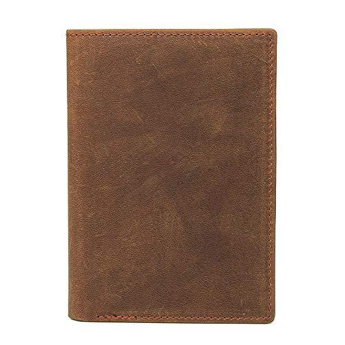 Leder-reise-pass-inhaber (Easy Go Shopping Neu Leder Pass Inhaber Retro Boarding Card Holder Card Package Erste Schicht Leder Pass Paket (Farbe : Brownish Yellow))