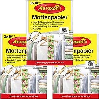 Aeroxon - Mottenpapier - 3x20 Stück - gegen Motten, Käfer und Larven