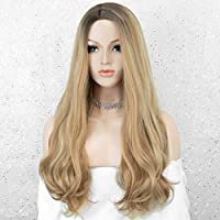 ‏‪K'ryssma Blonde Wig with Highlights Long Wavy Synthetic Wig for Women Ombre Blonde Wig with Light Roots‬‏
