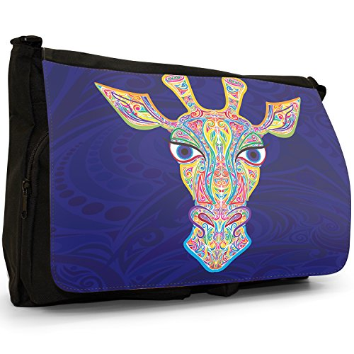 Indiana tradizionale Mehndi Swirl animali grande borsa a tracolla Messenger Tela Nera, scuola/Borsa Per Laptop Giraffe Indian Swirl Pattern