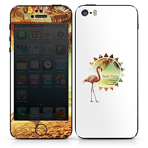 Apple iPhone 4s Case Skin Sticker aus Vinyl-Folie Aufkleber Flamingo Beach Urlaub DesignSkins® glänzend