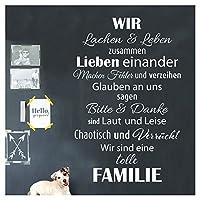 Wandaro W3456 Wall Sticker Quote Wir sind eine tolle Familie. I White 58 x 90 cm I Hallway Living Room Self-Adhesive Wall Sticker