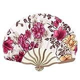Bent Griff Florals Druck Silk Mischung faltbare Craft Handventilator Weiß Rot