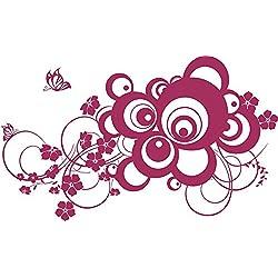 GRAZDesign 560015_50_821 Wandtattoo Ornament Retro | Blumentattoo für Wohnzimmer - Schlafzimmer - Küche | Blumenranken und Pflanzen an die Wand als Wand-Aufkleber (84x50cm//821 magnolia)