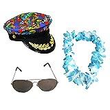 Déguisement accessoires pour adulte du parfait vacancier avec une casquette style Hawaïenne + un collier de fleurs + des lunettes d'aviateur. Idéal pour les enterrements de vie de garçon et de jeune fille. ( Bleu )