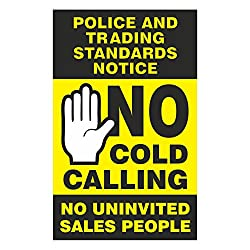 No Cold Calling Door Sticker - Black & Yellow - Fully Weatherproof Sign Pack of 1