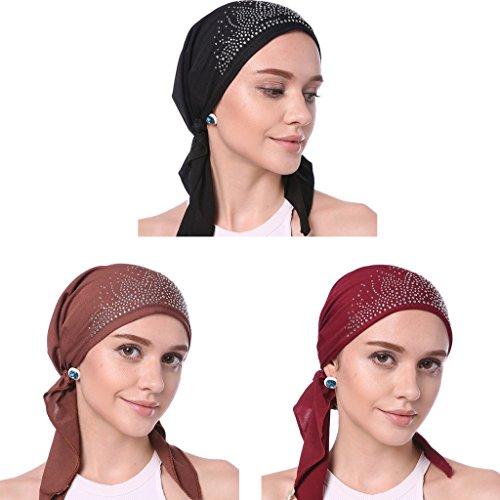 YI HENG MEI Frauen Elegante Ohrringe Drill Moslemischer Turban Hut Chemo Krebs Cap Kopftuch,Packung von 3(Schwarz+Burgund+Kaffee)
