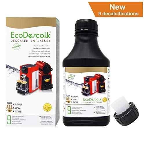 EcoDescalk Concentrado 9 descalcificaciones. Descalcificador para Todo Tipo de Cafeteras. Todas Las Marcas, Bosch, Nespresso, Krups, DeLonghi, Tassimo.Producto CE.