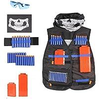 OrzBuy(TM) Chaleco Táctico para Niños,Kit de Chaqueta para Pistola Nerf N-Strike Elite Series,Negro